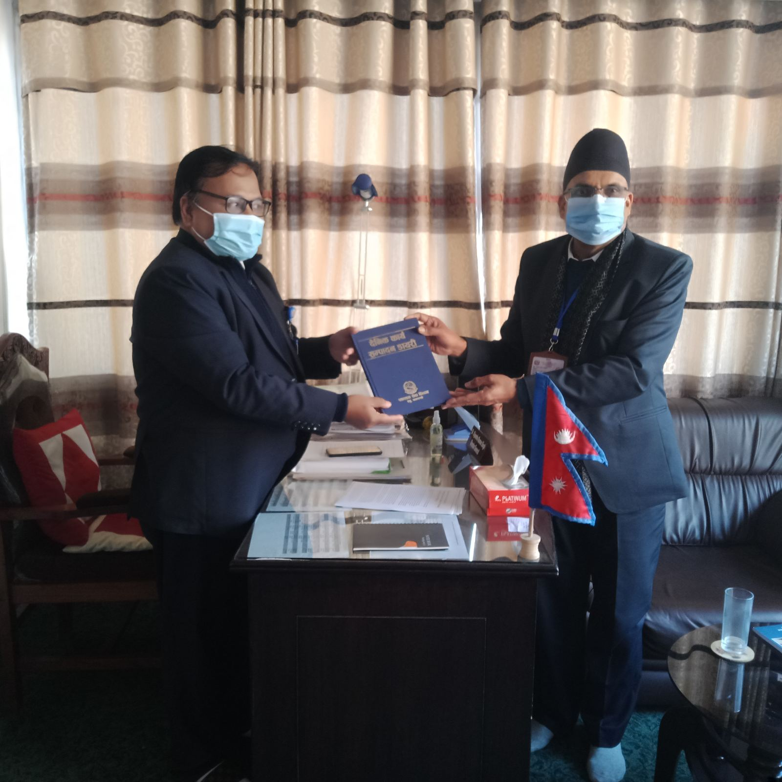 Dr. Dipendra Raman Singh(D.G,DoHS) & Dr. Taranath Pokharel Launching Daily Work Accomplishment Diary